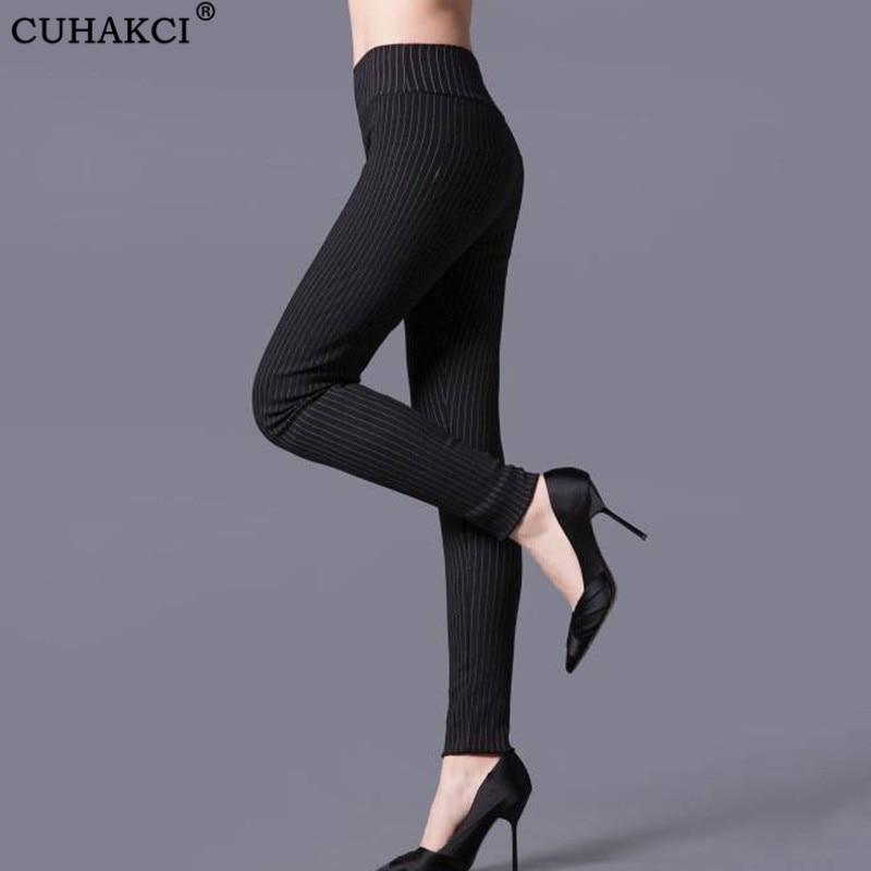 CUHAKCI Sexy Leggings Casual Trousers Striped Legging Women Black White High Waist Pants Elastic Plaid Legging Pencil Trousers
