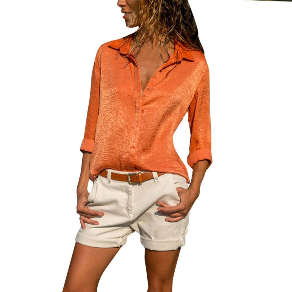 Women   Blouses   2018 Autumn Fashion Long Sleeve Turn Down Collar   Shirt   Office   Blouse     Shirt   Casual orange Tops Blusas Femininas