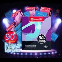 90 PCS 6 Estilos Caixa de Preservativos para Homens Ultra Fino Natural Latex Spiral Valor de Pico Preservativo Manga Pênis Brinquedos Sexuais Loja de Atacado
