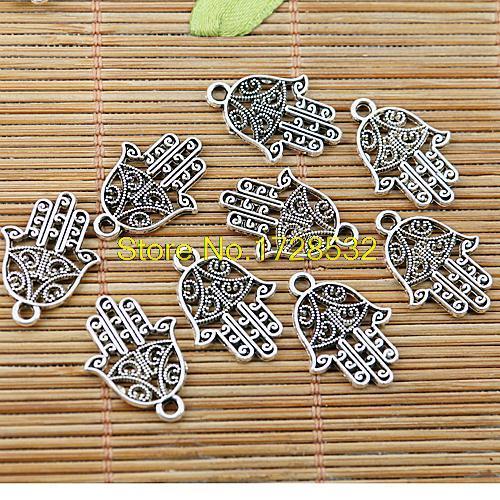 10 piezas 20*15mm mano hamsa de plata antiguos encantos