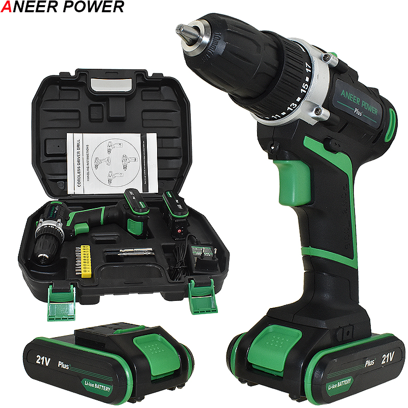 21V Plus Cordless Drill Electric Drill 2 Batteries Electric Screwdriver Power Tools Battery Mini Hand Drill