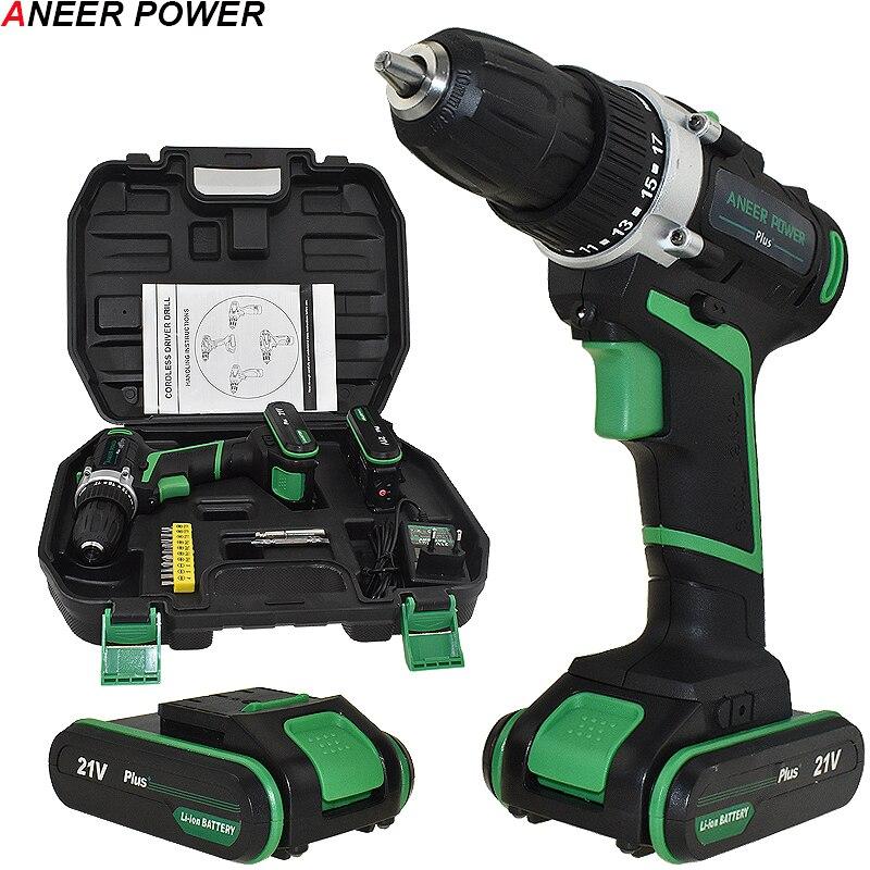 21 v Plus 2 Baterias Furadeira sem fio Furadeira Elétrica chave de Fenda Elétrica Ferramentas De Poder Da Bateria Mini Mão de Perfuração Da Broca Chave De Fenda