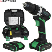 21V Plus Cordless Drill Electric Drill 2 Batteries Electric Screwdriver Power Tools Battery Mini Hand Drill Drilling Screwdriver