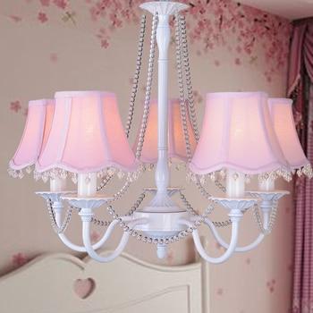 Qiseyuncai American country children's room crystal chandelier modern minimalist living room girl bedroom lamp