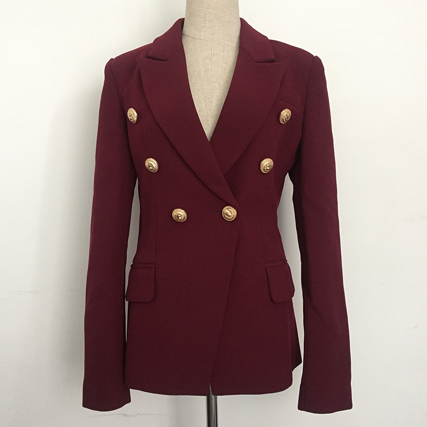 HIGH STREET New Fashion 2020 Designer Blazer Jacket Women's Metal Lion Buttons Double Breasted Blazer Outer Coat Wine Red