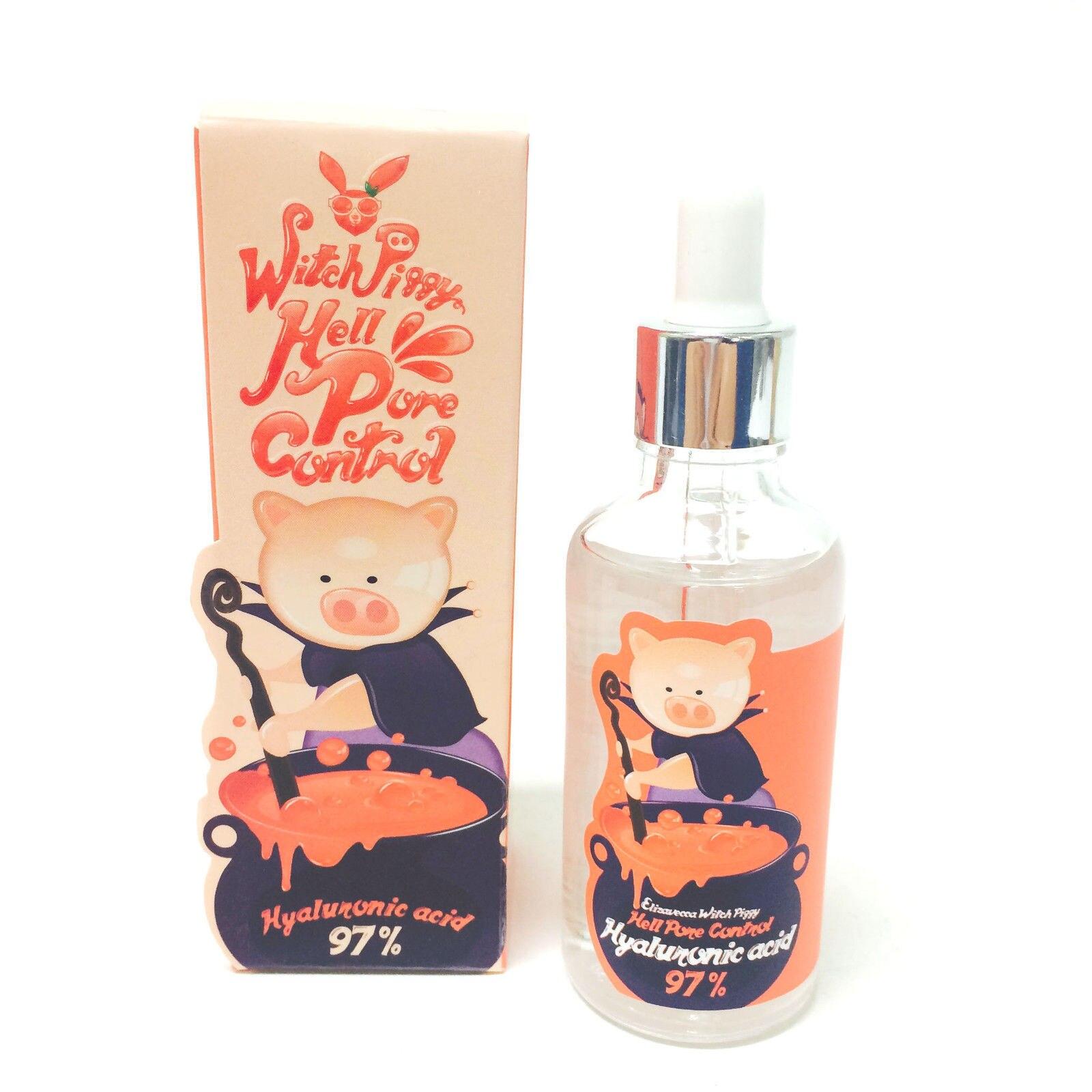 Korean Cosmetic Elizavecca Witch Piggy Hell Pore Control Hyaluronic Acid 97% 50ml Face Serum Crean Skin Care Facial Essence