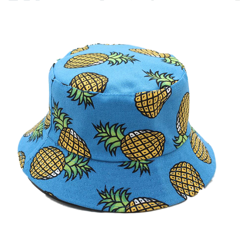 0d7fafa9543 Free Shipping 2018 New Fashion Ladies Summer White Pink Pineapple Printed Bucket  Hats Caps For Women Girls