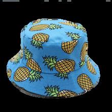 be2e027c390b7 Free Shipping 2018New Fashion Lovely Summer White Pineapple Printed Bucket  Hats Outdoor Pineapple Fishing Sun Caps Women Girls