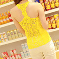 Crop tops de mujer Sexy cabo espalda de encaje sin mangas ocasional camis vesttank camiseta superior, XOT2057