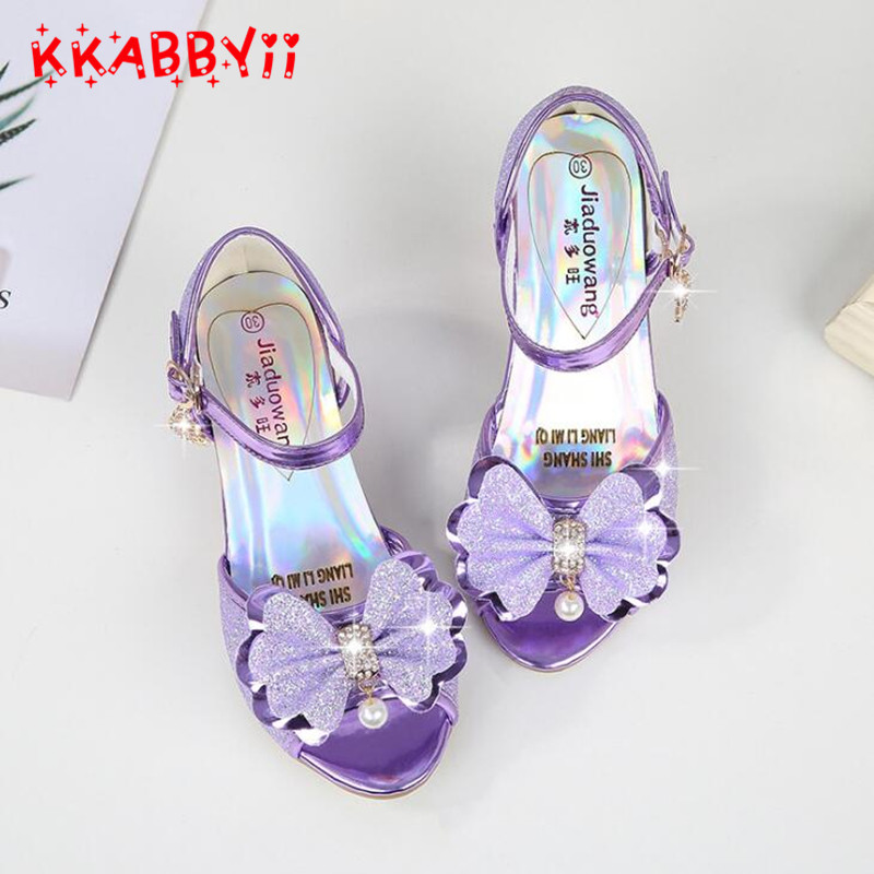 Purple sandals for girl summer high heels gilr childrens blue pink shoes sandals Princess cute fashion bow student 5 colors