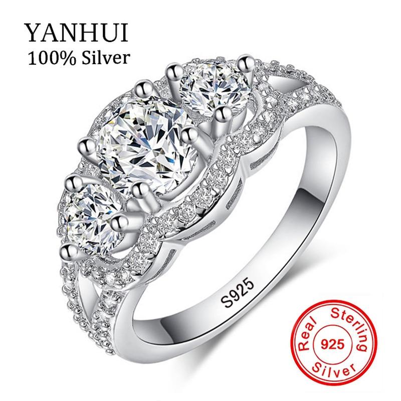 90% OFF!!! YANHUI 100% Solide 925 En Argent Sterling Anneaux Set Sona CZ Diamant Bague De Fiançailles De Mariage Bijoux En Argent pour Femmes R173