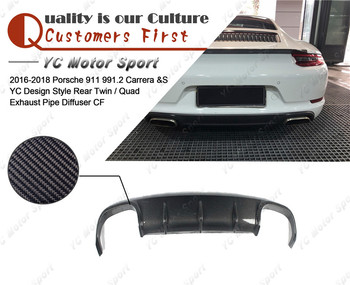 Carbon Fiber YC Design Style Rear Twin / Quad Exhaust Pipe Diffuser Fit For 2016-2018 911 991.2 Carrera & S Rear Diffuser Lip