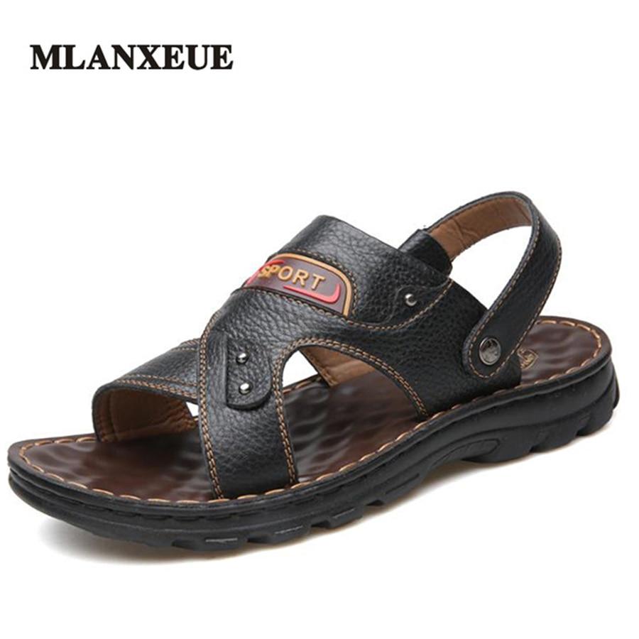 MLANXEUE Genuine Leather Massage Soft Sole Men Sandals Plus Size Breathable Beach Men Shoes Non-Slip Cozy Flip Flops