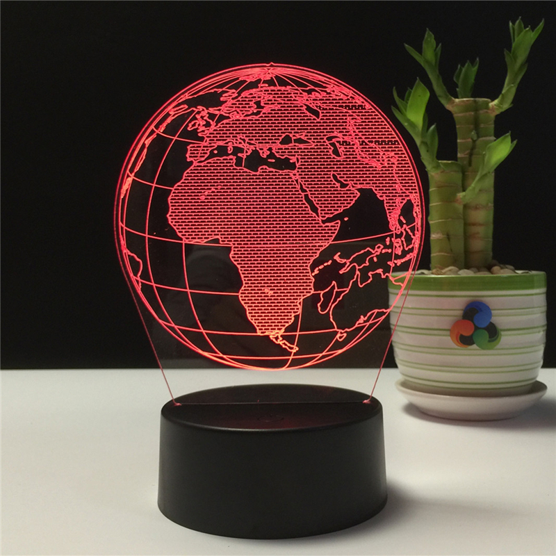 Novelty Gift Earth Shape 3D LED Lamp Night Lights USB LED Illusion Atmosphere Vision Table Lamp for Children Bedroom Decoration led chelsea football club 3d lamp usb 7 color cool glowing base home decoration table lamp children bedroom night lights