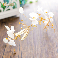 Fashion Gold Color Hairband Pearl Jewelry Crystal Headpiece Floral Women Crown Princess Bride Hairwear Wedding Accessories
