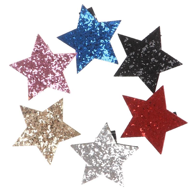 1Pcs Star Shape Metal Children Snap Glitter Hair Clips Barrettes Girls Cute Hair 6 Colors