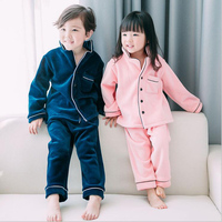Baby Boy Girl Thick Flannel Pajamas Sets Kids Winter Button Sleepwear Pajama Suits Children Home Clothes