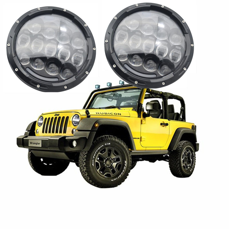 Round 7'' 105W Daymaker Headlights Kit with Angel eye Hi/Lo Beam White DRL/Amber Turn Signal for Jeep Wrangler JK Hummer H1 H2