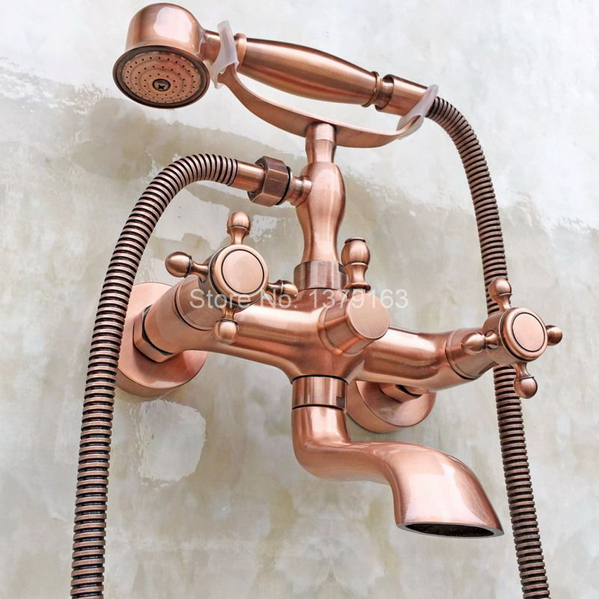 Modern Bathroom Antique Red Copper Wall Mounted Clawfoot Tub Filler Faucet Handshower Double Cross Handles atf803 antique red copper handheld shower head bath tub mixer tap wall mounted bathroom dual cross handles faucet wtf803