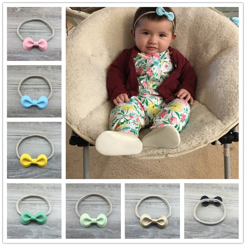 5pcs/lot 26color Cute Kids Handmade Leather Bow Headbands Elastic Nylon Hair Bands For girls children Dress up Hair Accessories