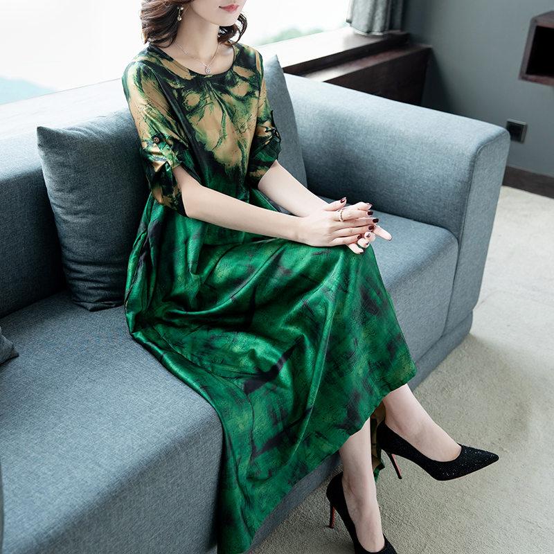 2020 New Large Size National Wind Summer Women's Dress Retro Loose Printing Big Swing Round Neck Short Sleeve Dress  X825