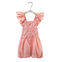 2016 new style one piece peach lace jumpsuit baby girl suit