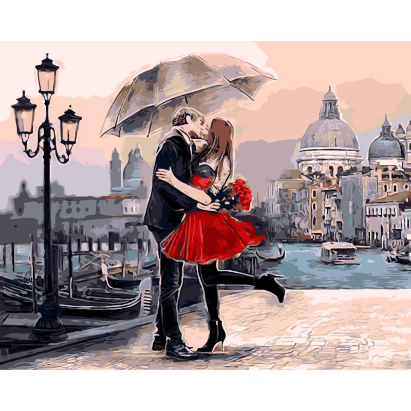 Romantic DIY Painting By Numbers Kiss Lover Landscape Acrylic Picture Wall Art Hand Painted Oil Painting For Home Decor