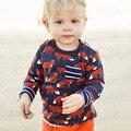 Little maven das crianças marca de roupas de moda primavera 2017 meninas do bebê manga longa de algodão O-pescoço impressão lobo vermelho camiseta bolso CT007