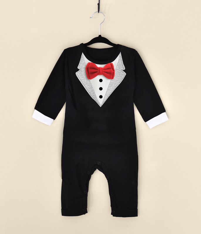 long sleeve gentleman baby boys set white and black   rompers   for baby boys hot sale fashion baby clothes