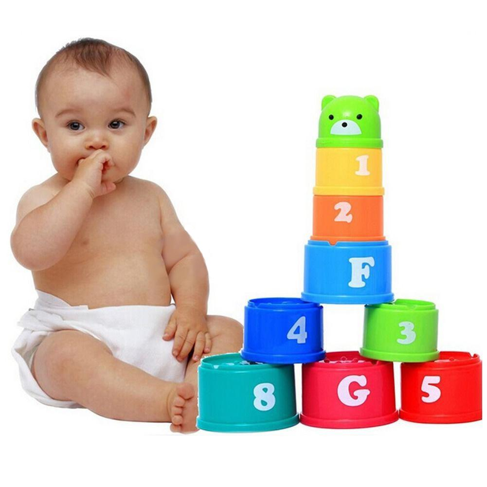 9 Pcs/set Educational Baby Toys 6 Month+ Figures Letters Foldind Stack Cup Tower Children Early Intelligence Color Random