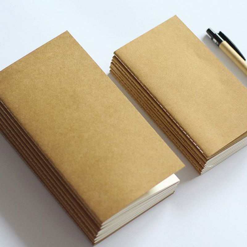 Standard/Pocket Kraft Paper Notebook Blank Notepad Diary Journal Travelers Notebook Refill Planner Organizer Filler Paper