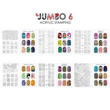 CICI и SISI ногтей штамповки наклейки на тарелки для ногтей трафареты различного дизайна ногтей штамп DIY Красота Акриловые Маникюр Jumbo 6 компл.
