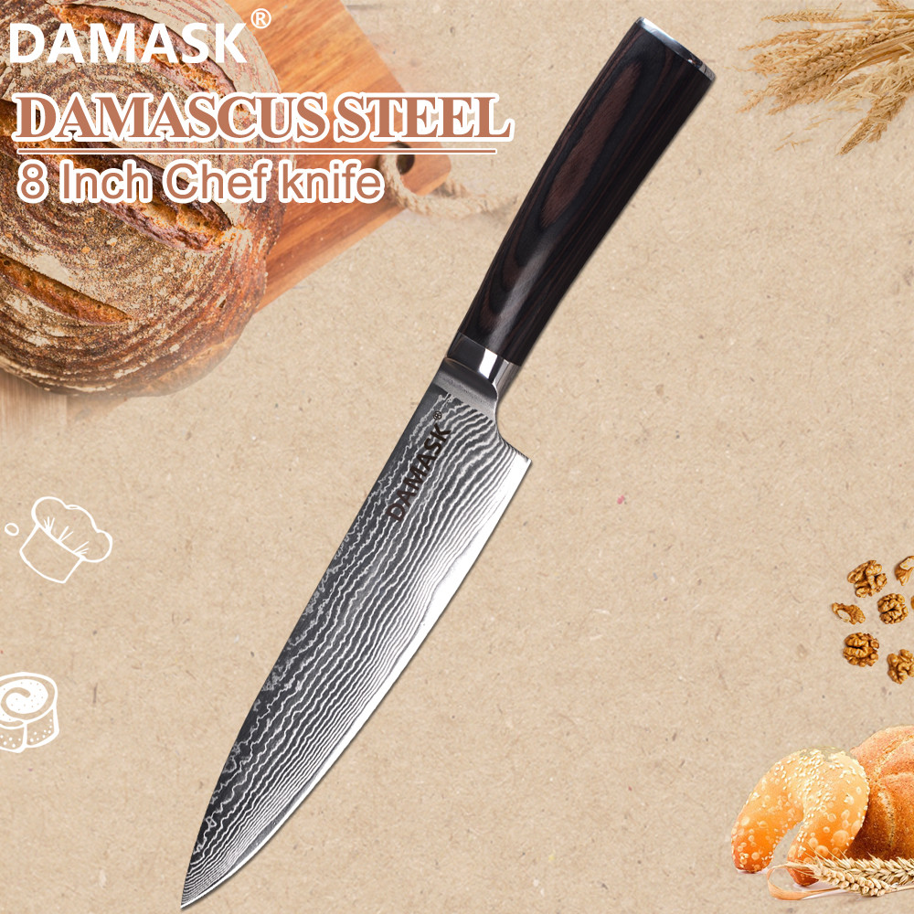 Damask 8 inch Chef Knife Damascus Steel Japanese Cooking Knife VG10 Razor Sharp Blade 62 HRC