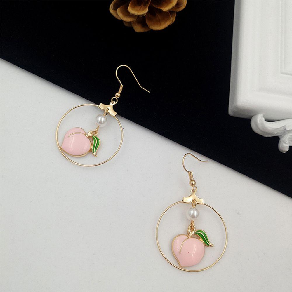 Earrings for women Fashion peach stud earrings contracted joker cute girl peach female stud earrings jewelry