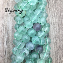 Fluorite Round Loose beads,Natural Stone Green Crystal Quartz Balance Necklace Pyroemerald Beads For DIY Jewelry  MY2008