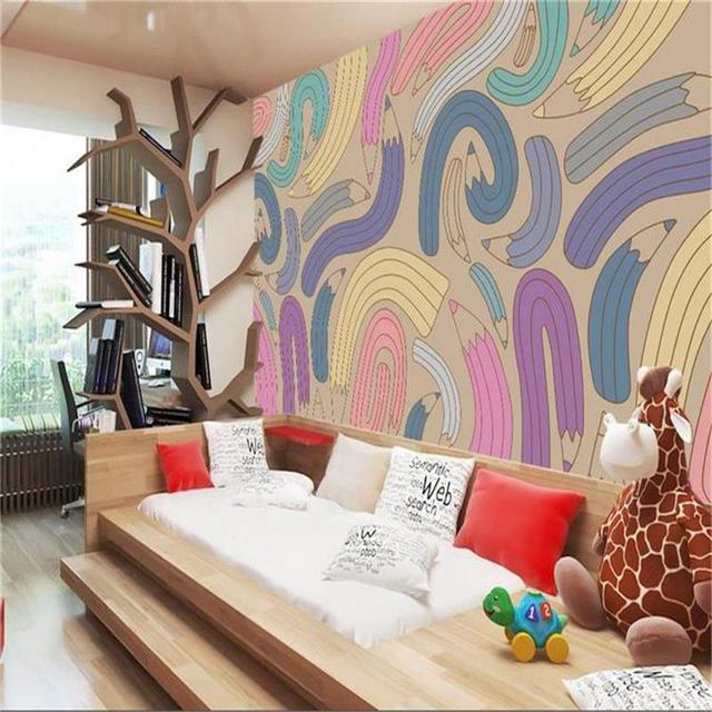Custom Size 3d Photo Wallpaper Kids Room Mural Fashion Color Pencil 3d  Painting TV Background Non Woven Wall Paper For Walls 3d