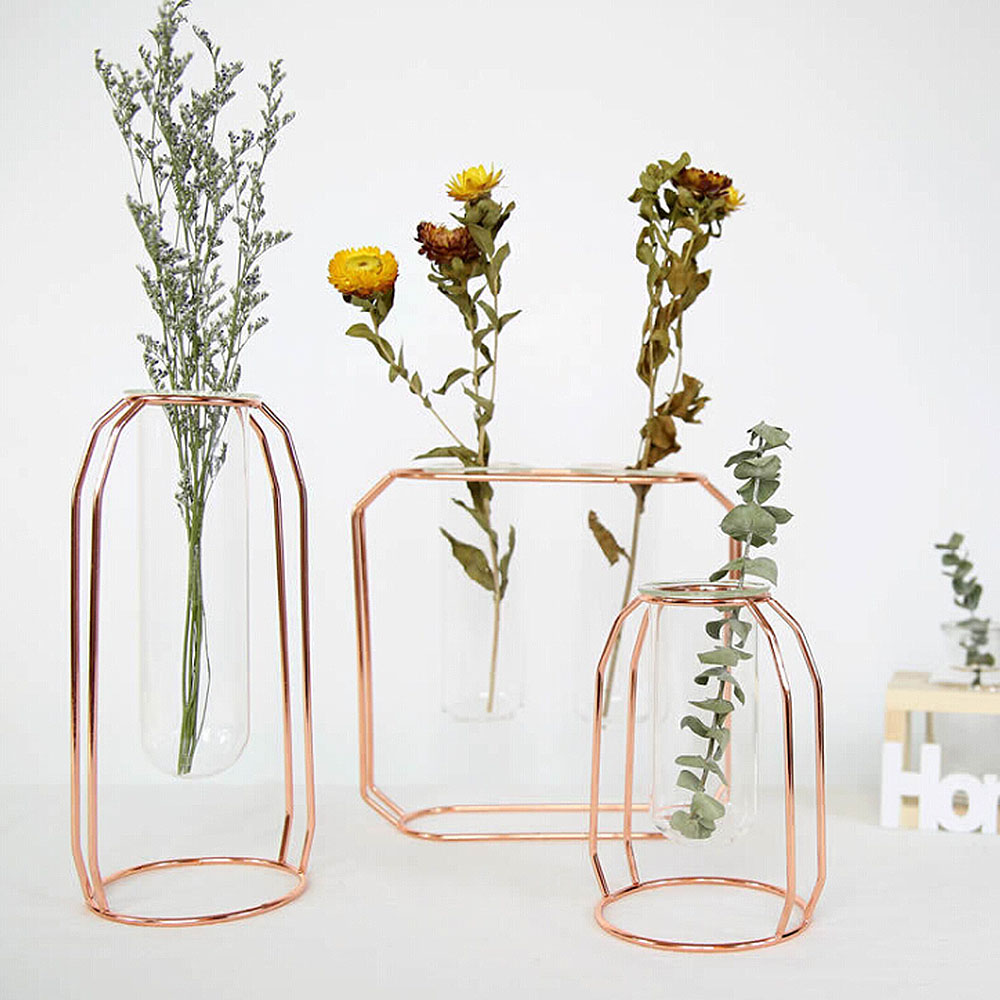 Metal Stand With Vase Nordic Glass Iron Art Vase Set Rose Gold Geometric Shape Flowerpot Home Table Ornaments Wedding Decoration