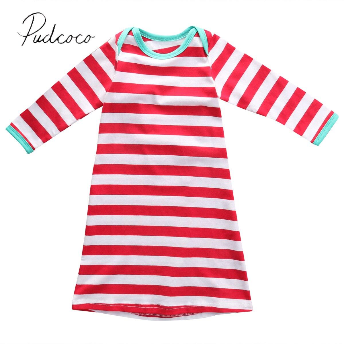 2017 Fancy Red Stripe Newborn Baby Gown Girl Boy Infant