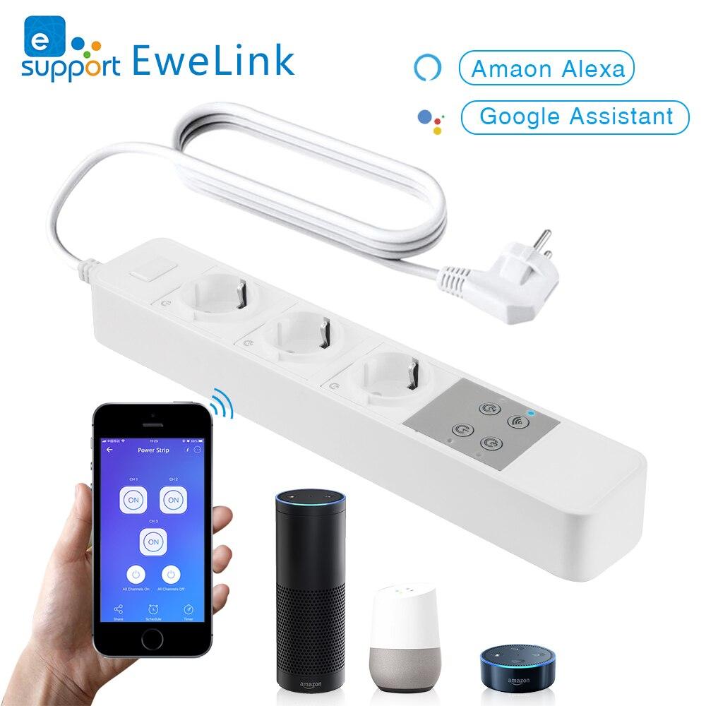 EACHEN WiFi prise de courant intelligente sans fil 3 prises de courant norme européenne fonctionne avec l'application EWelink Alexa Google Home IFTTT
