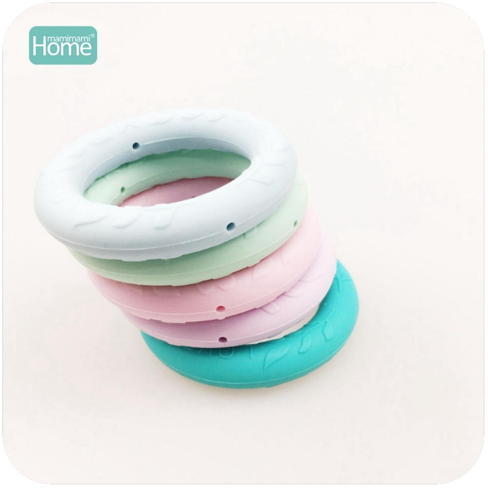 MamimamiHome Baby Toys 10pc Silicone Ring Holes Silicone Teether BPA Free Leaves Baby Love Engrave Pendant Charms