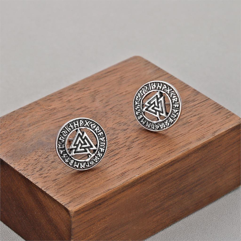 Todorova Slavic Norway Valknut Pagan Amulet Mens Earrings Scandinavian Viking Jewelry Odin 's Symbol Warrior Stud Earrings 1