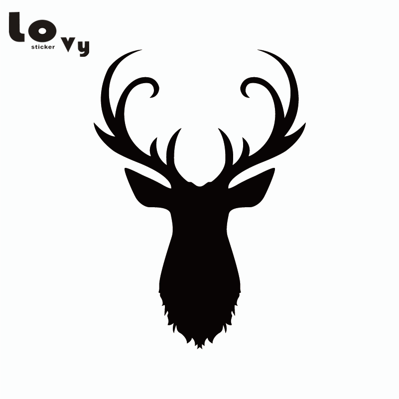 creative reindeer stag silhouette contour wall sticker
