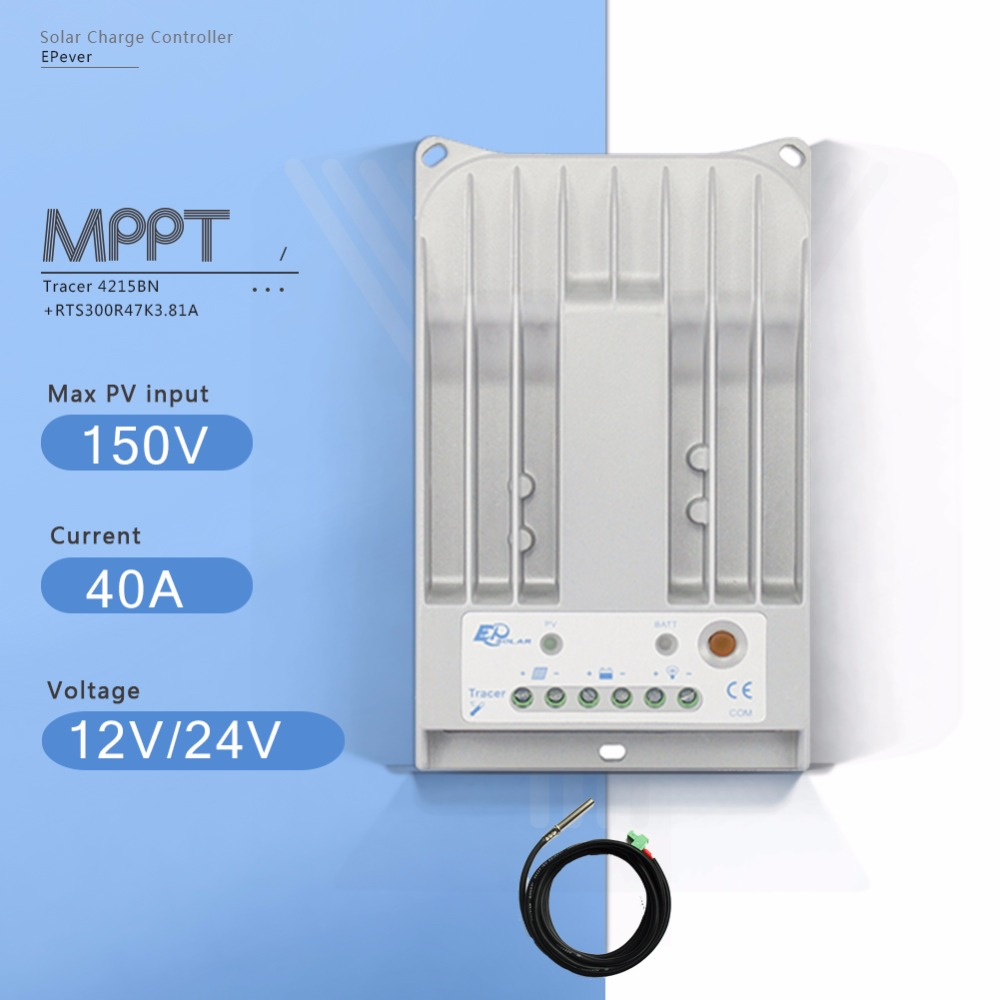 Tracer 4215B MPPT 40A Solar Battery Charge Controller 12V 24V Auto Solar Charge Regulator with Remote Temperature Sensor TS-RTracer 4215B MPPT 40A Solar Battery Charge Controller 12V 24V Auto Solar Charge Regulator with Remote Temperature Sensor TS-R
