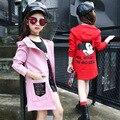 Девушки Верхняя Одежда 2017 Весна Осень 3-12 Года Европа Американский Стиль девушки Траншеи Розовый Красный Цвет Мода одежда