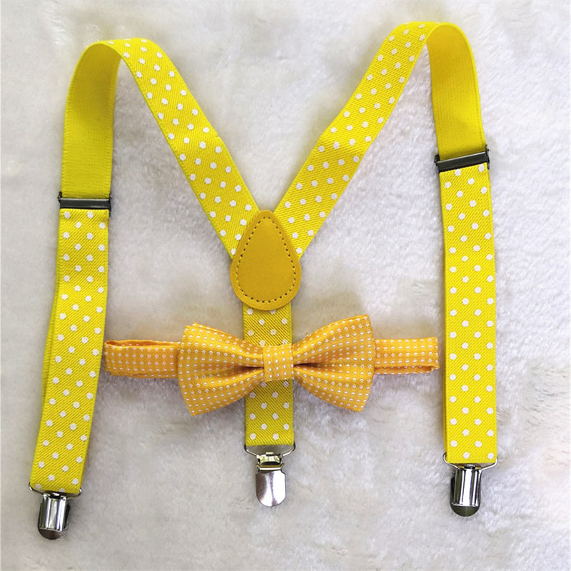 OnnPnnQ Fashion New Boys Girls 3Clips Suspenders Set Personality Yellow Dots Bow Tie Adjust Braces Kids Daily Show Accessories