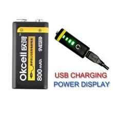 Высокое качество OKcell 9 В в 800 мАч USB перезаряжаемые Lipo батарея для Вертолет модель микрофон запасная часть для радиоуправляемого вертолета