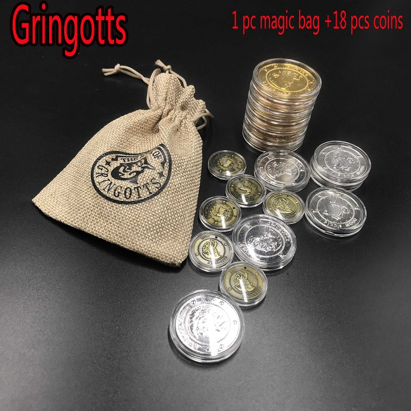 Harri Potter Cosplay Hogwarts Gringotts Bank Coin With Bag Collection Toy Halloween Wizarding World Party Accessories Props Gift