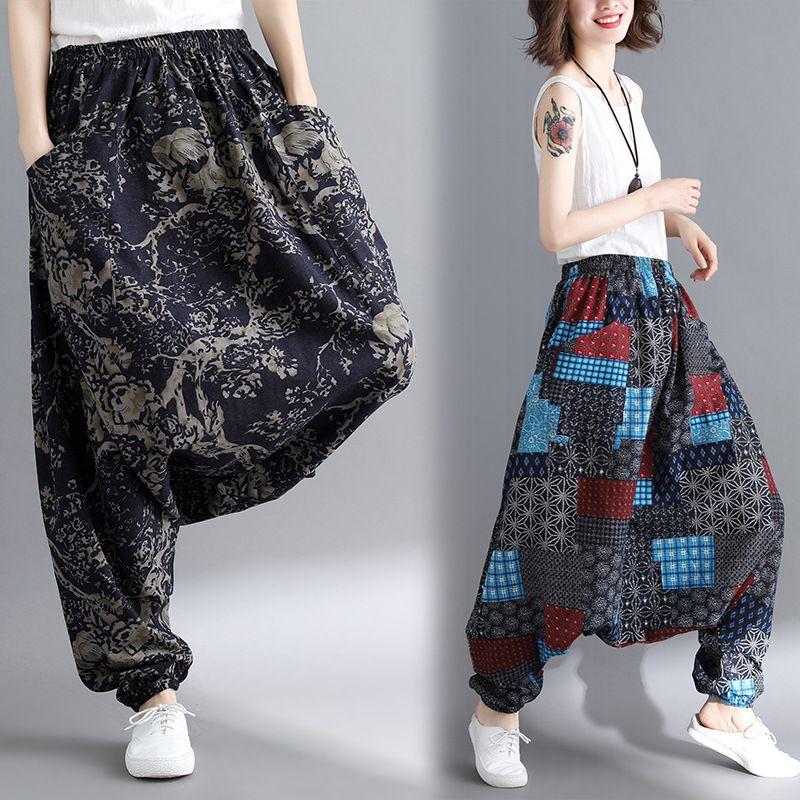 Élastique 05 06 07 Harem 08 01 Boho Indien Entrejambe Népal Défaites Bas Pantalon 03 Baggy Taille Casual Fluide Grand 04 02 A5972 Floral x8A1f