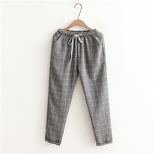 Summer New Fashion Linen Women's Pants Loose Elastic Waist Harem Pants Female Large Size M-XXL Grid Striped Casual Capri Pockets