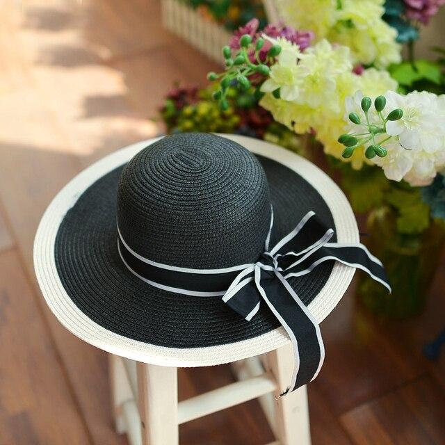 2016 новые девочки широкими полями шляпа флоппи дерби шляпа большой летний пляж соломенная шляпка Cap